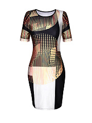 Glamorous Color Block Printed Bodycon Dress