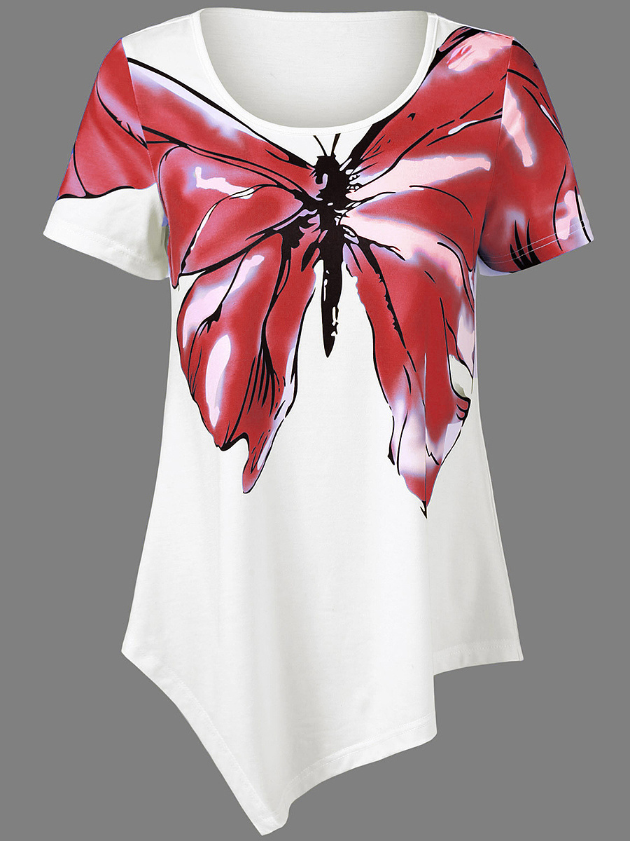 Asymmetric Hem Butterfly Printed Short Sleeve T-Shirt