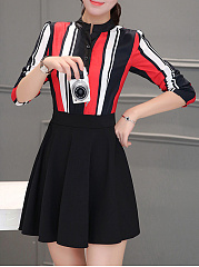 Crew Neck  Color Block Colouring Striped Skater Dress