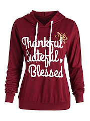 Letters Printed Casual Drawstring Long Sleeve Hoodie