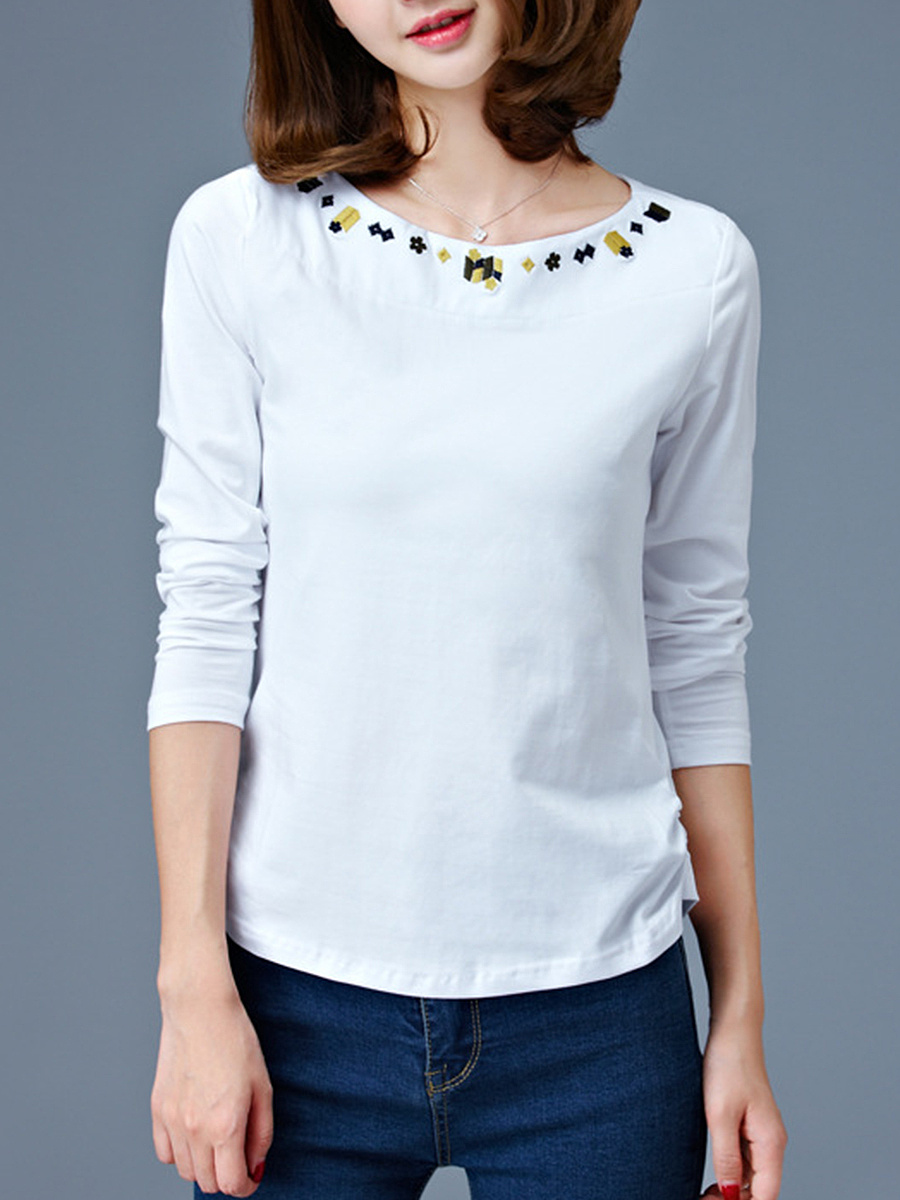 Round Neck Embroidery Long Sleeve T-Shirt