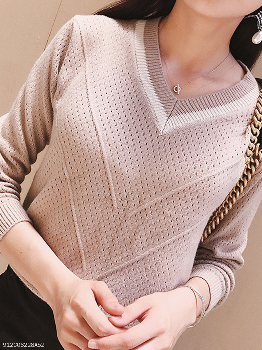 V-Neck  Contrast Piping  Hollow Out Plain  Long Sleeve Sweaters Pullover