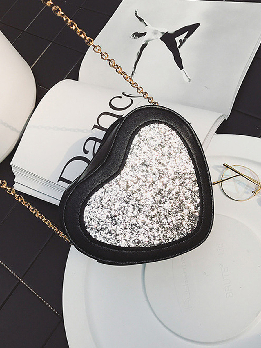 Heart Shape Glitter Patchwork Crossbody Chain Bag