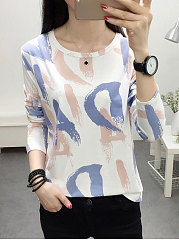 Autumn Spring  Polyester  Women  Round Neck  Letters Long Sleeve T-Shirts