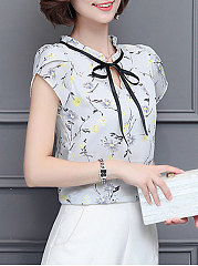 Summer  Polyester  Women  Tie Collar  Floral Printed  Extra Short Sleeve Blouses