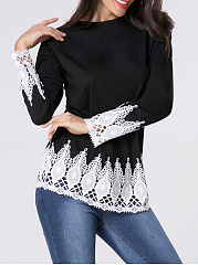 Autumn Spring  Polyester  Women  Round Neck  Decorative Lace Patchwork  Plain Long Sleeve T-Shirts