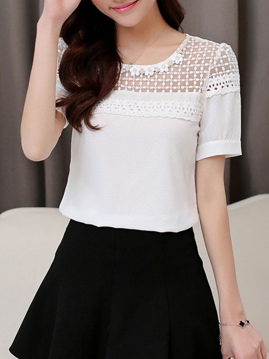 Summer  Chiffon  Women  Round Neck  See-Through  Hollow Out Plain  Short Sleeve Blouses
