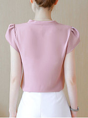 Spring Summer  Polyester  Women  Round Neck  Bowknot  Plain  Petal Sleeve  Half Sleeve Blouses