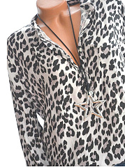 Autumn Spring  Polyester  Women  V-Neck  Decorative Button  Leopard  Long Sleeve Blouses