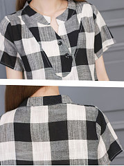 Summer  Linen  Women  Asymmetric Neck  Decorative Button  Plaid  Short Sleeve Blouses
