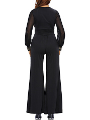 Modern V-Neck Rivet Hollow Out Plain Wide-Leg Jumpsuit