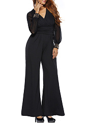 Modern-V-Neck-Rivet-Hollow-Out-Plain-Wide-Leg-Jumpsuit