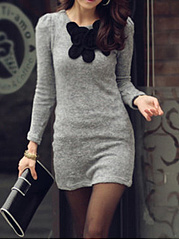 Round Neck Decorative Patch Mini Bodycon Dress