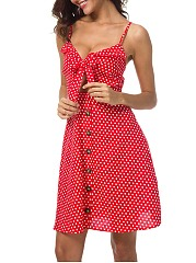 Cute Polka Dot Cutout Bowknot Spaghetti Strap Skater Dress