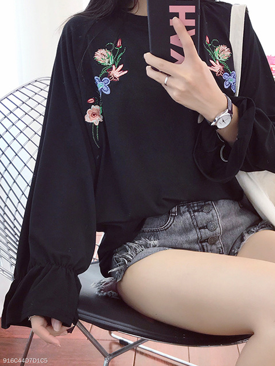 Autumn Spring Summer  Polyester  Women  Round Neck  Embroidery Plain Long Sleeve T-Shirts