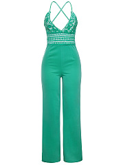 Spaghetti Strap Decorative Lace Plain X-Back Wide-Leg Jumpsuit