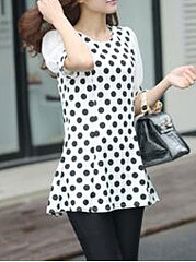 Spring Summer  Chiffon  Women  Round Neck  Patchwork  Polka Dot  Short Sleeve Blouses