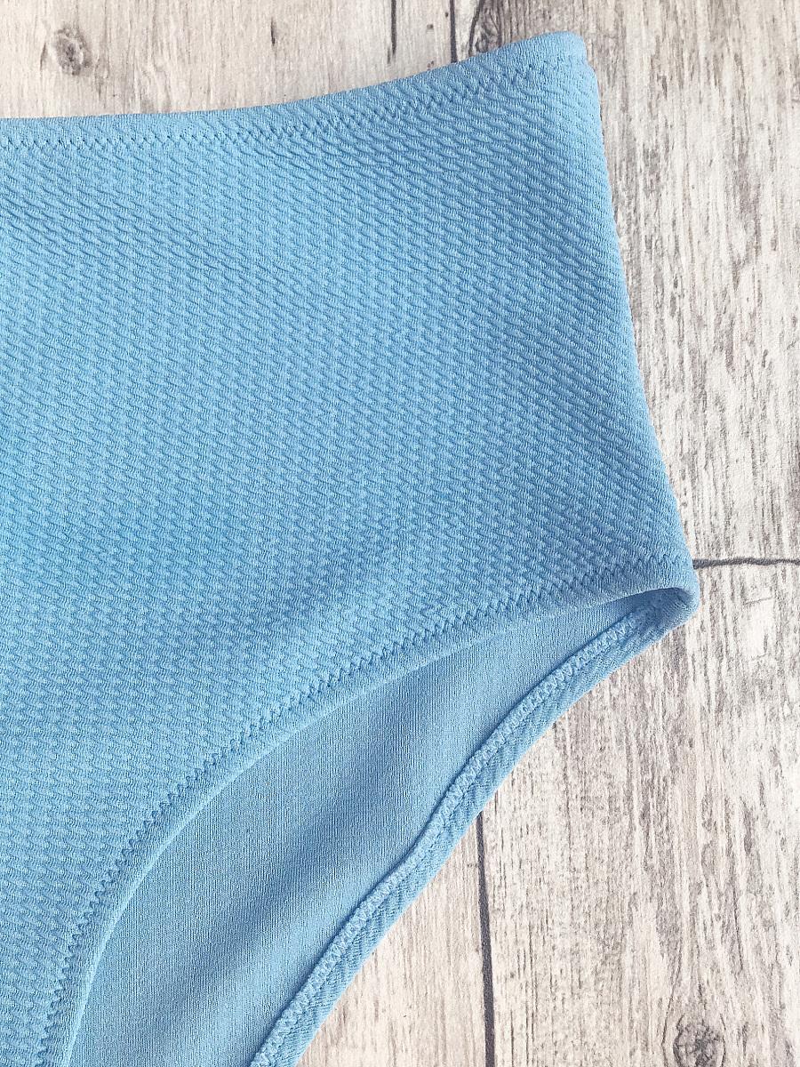 Textured Plunge High Waisted Bikini Set