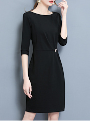 Black Round Neck Slit Bodycon Dress