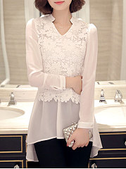 V-Neck  Asymmetric Hem  Lace  Long Sleeve Blouses