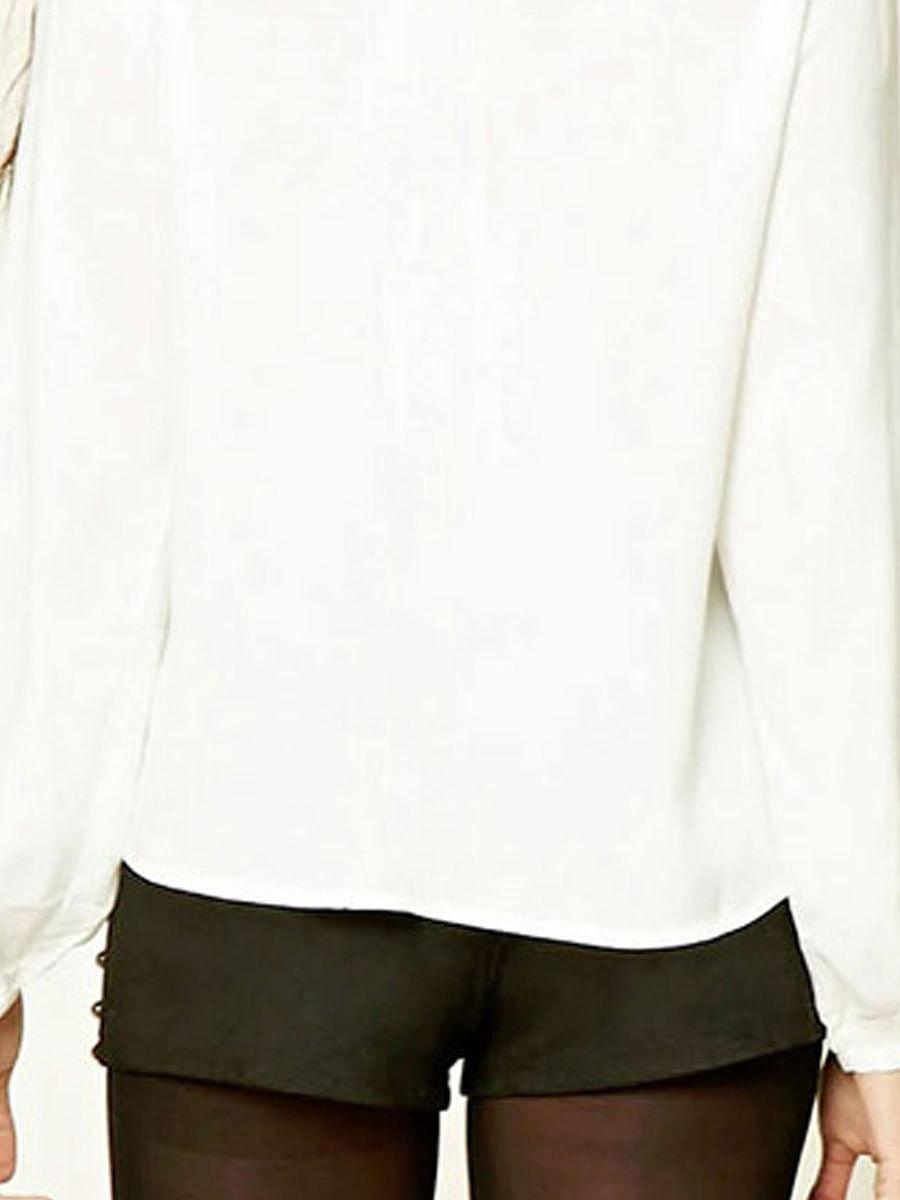 Spring Summer  Chiffon  Women  Tie Collar  Plain  Long Sleeve Blouses
