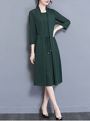 Elegant Solid Bowknot Midi Shift Dress