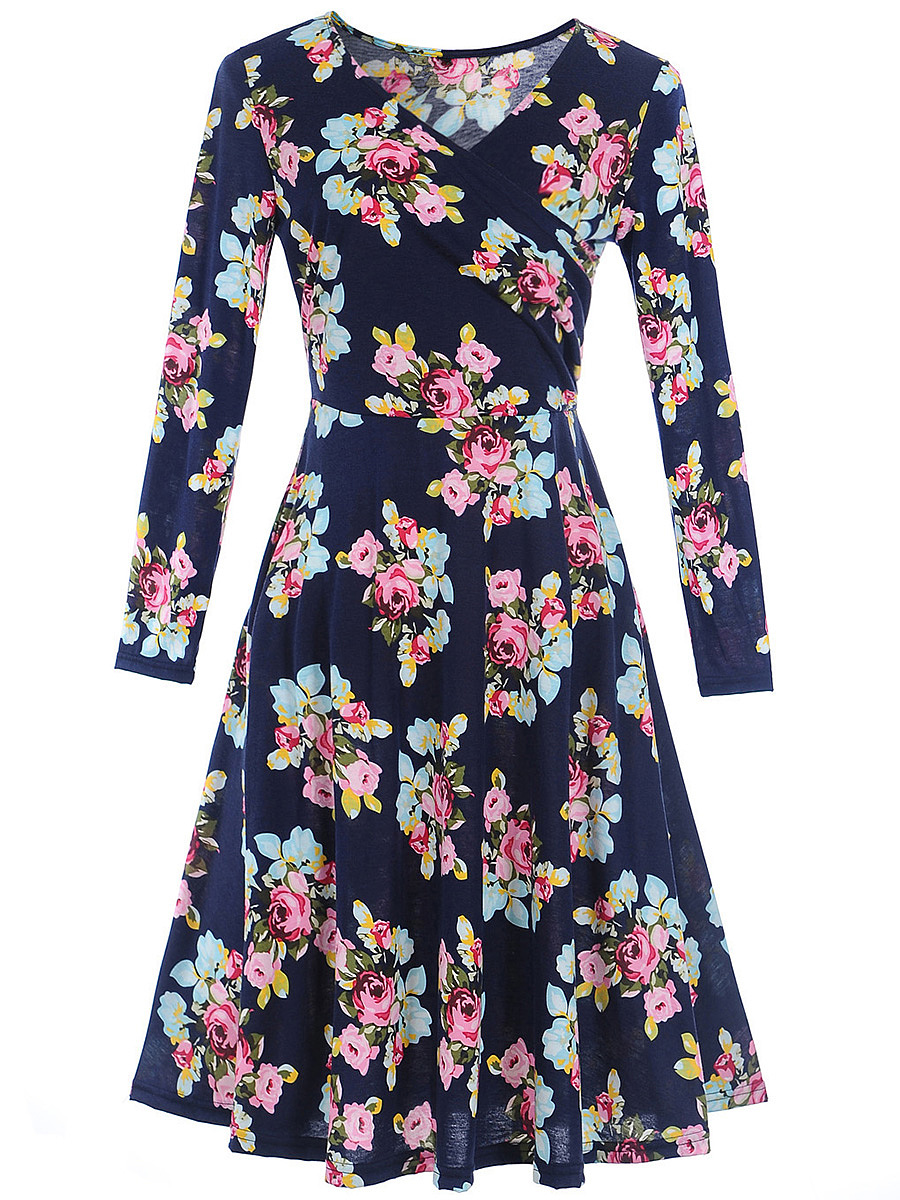 Elegant V-Neck  Floral Printed  Long Sleeve Skater Dress