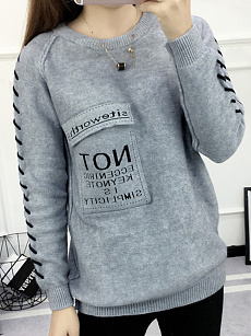 Round Neck  Flap Pocket  Letters Knit Pullover