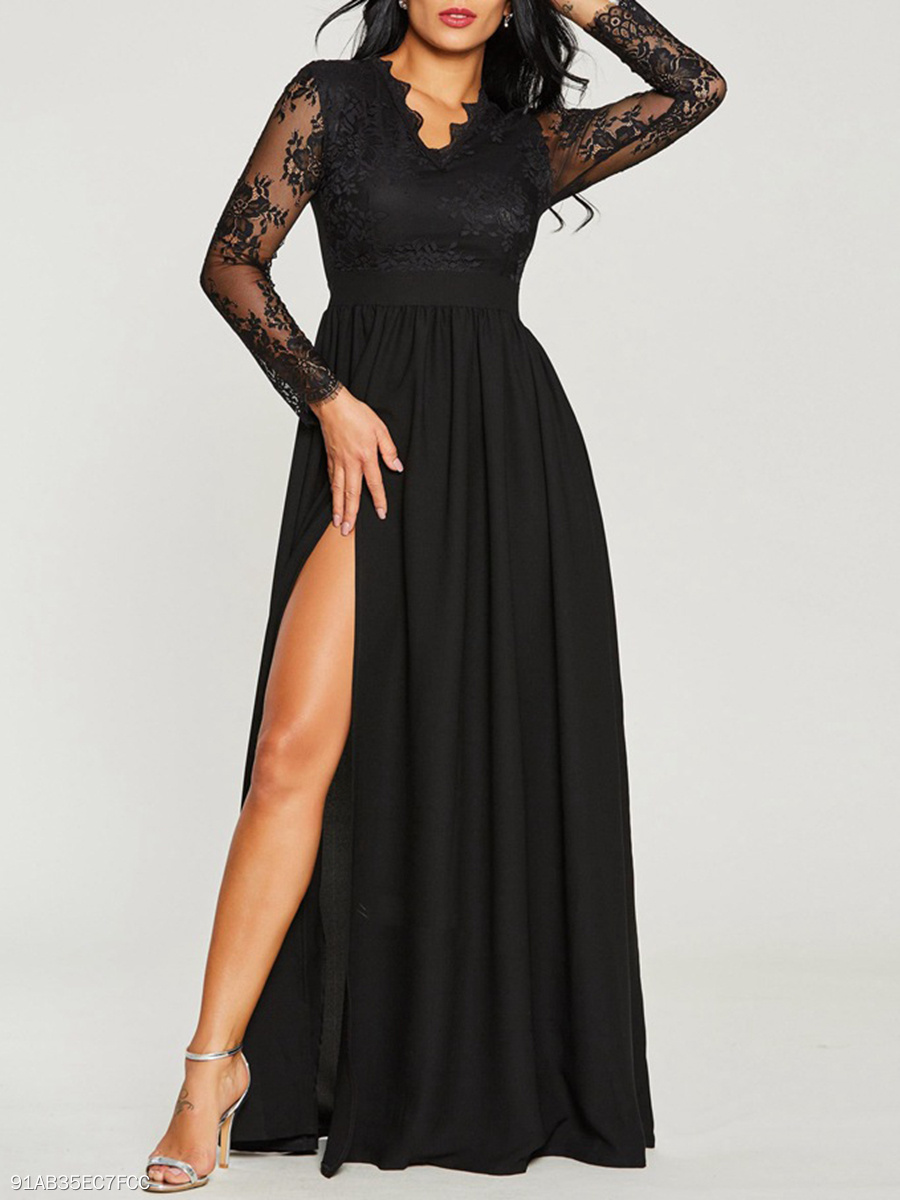V-Neck  Slit  Lace Plain Date Maxi Dress