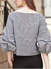 Boat Neck  Plaid  Puff Sleeve Blouses