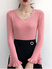 V-Neck  Beading  Plain  Long Sleeve Sweaters Pullover