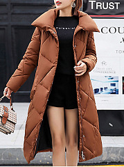 Band Collar  Zips  Plain  Long Sleeve Coats