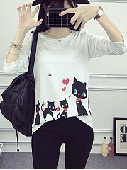 Autumn Spring  Polyester  Women  Round Neck  Printed Long Sleeve T-Shirts