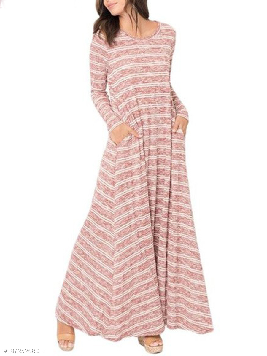 Round Neck  Printed Striped Casual Maxi Dress