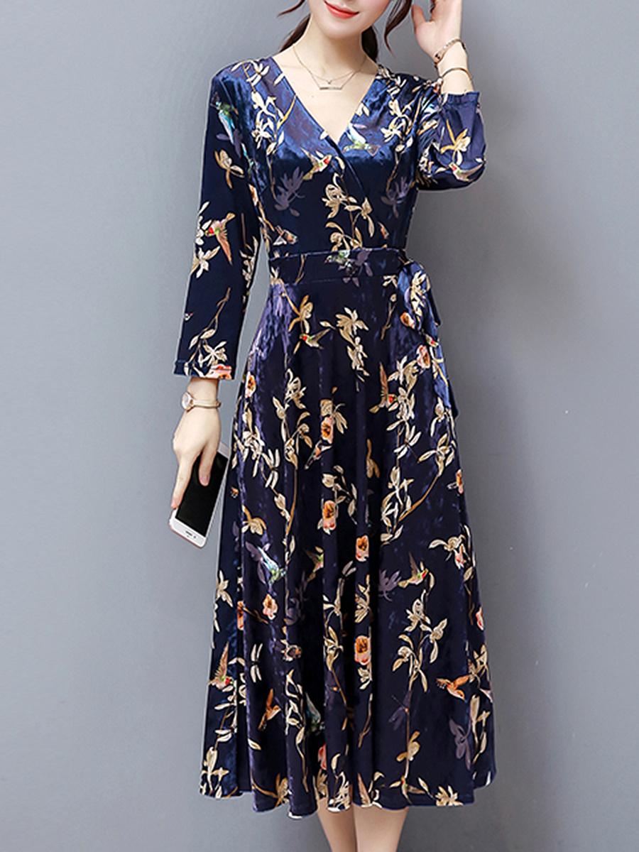 ... Bowknot Floral Printed Velvet Maxi Dress. V-Neck ...