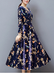 V-Neck Bowknot Floral Printed Velvet Maxi Dress