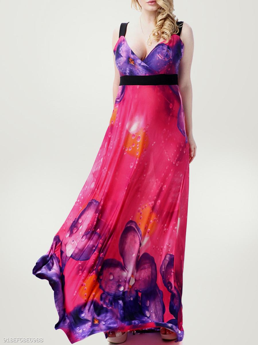 5547174f24efa Empire Swing Floral Deep V-Neck Plus Size Maxi Dress - fashionMia.com