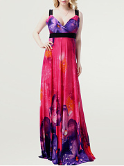 Empire Swing Floral Deep V-Neck Plus Size Maxi Dress