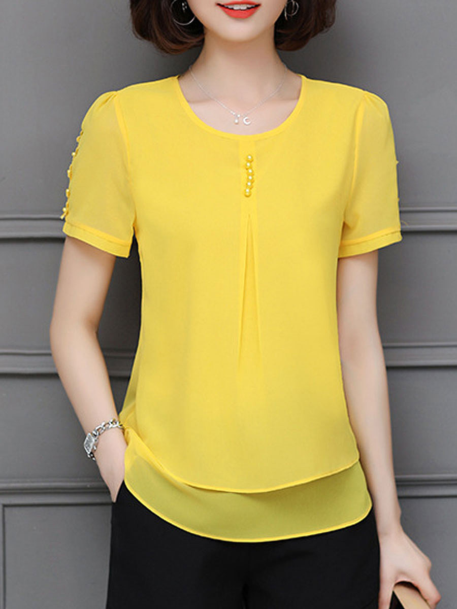 Summer  Chiffon  Women  Round Neck  Asymmetric Hem  Plain  Short Sleeve Blouses