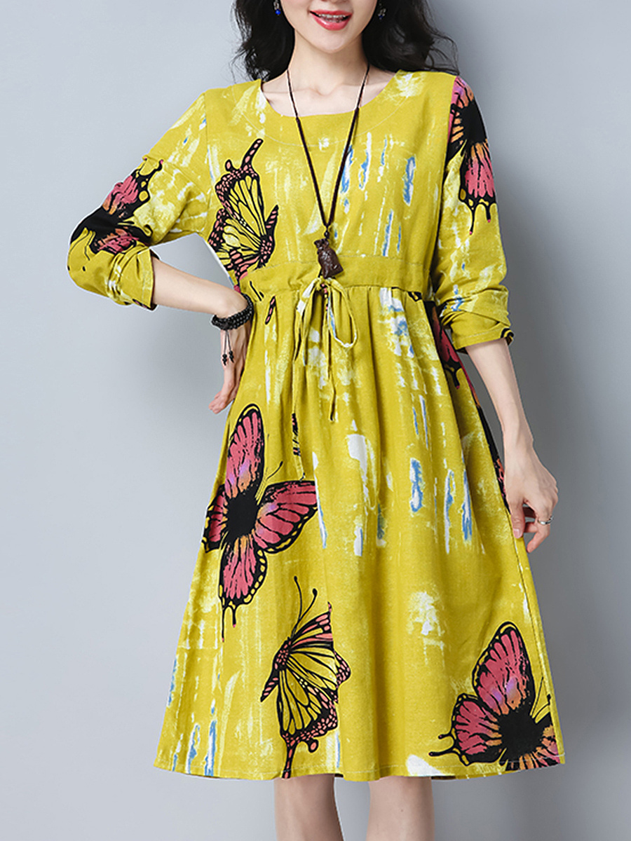 Round Neck Drawstring Butterfly Printed Skater Dress