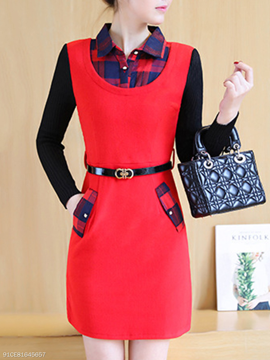 Plaid Flap Pocket Patchwork Belt Woolen Bodycon Dress