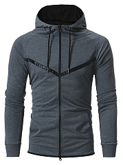 Contrast Trim Patch Pocket Men Hoodie
