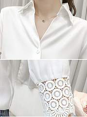 Autumn Spring  Linen  Women  Turn Down Collar  Decorative Lace  Hollow Out Plain  Three-Quarter Sleeve Blouses