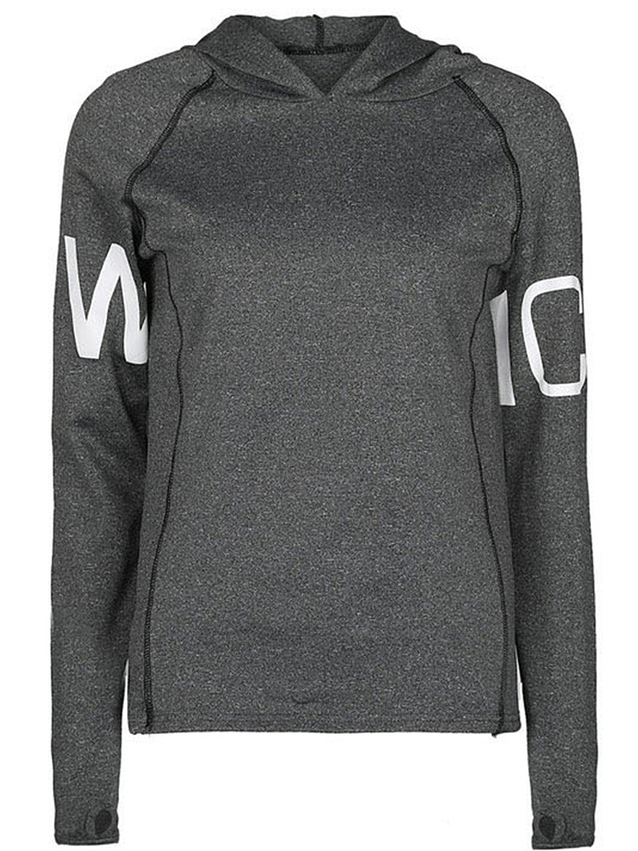 Hooded Letters Printed Sport Long Sleeve T-Shirt