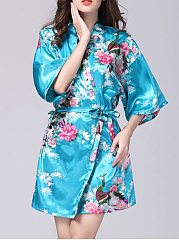 Floral-And-Peacock-Printed-Nightgown