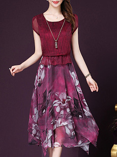 Asymmetric Hem Floral Printed Round Neck Skater Dress