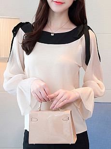 Autumn Spring  Polyester  Women  Round Neck  Contrast Piping  Plain  Long Sleeve Blouses