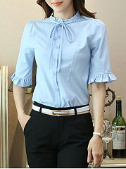 Autumn Spring  Polyester  Women  Tie Collar  Single Breasted  Plain Blouses