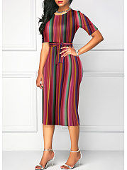 Round Neck  Vertical Striped Bodycon Dress