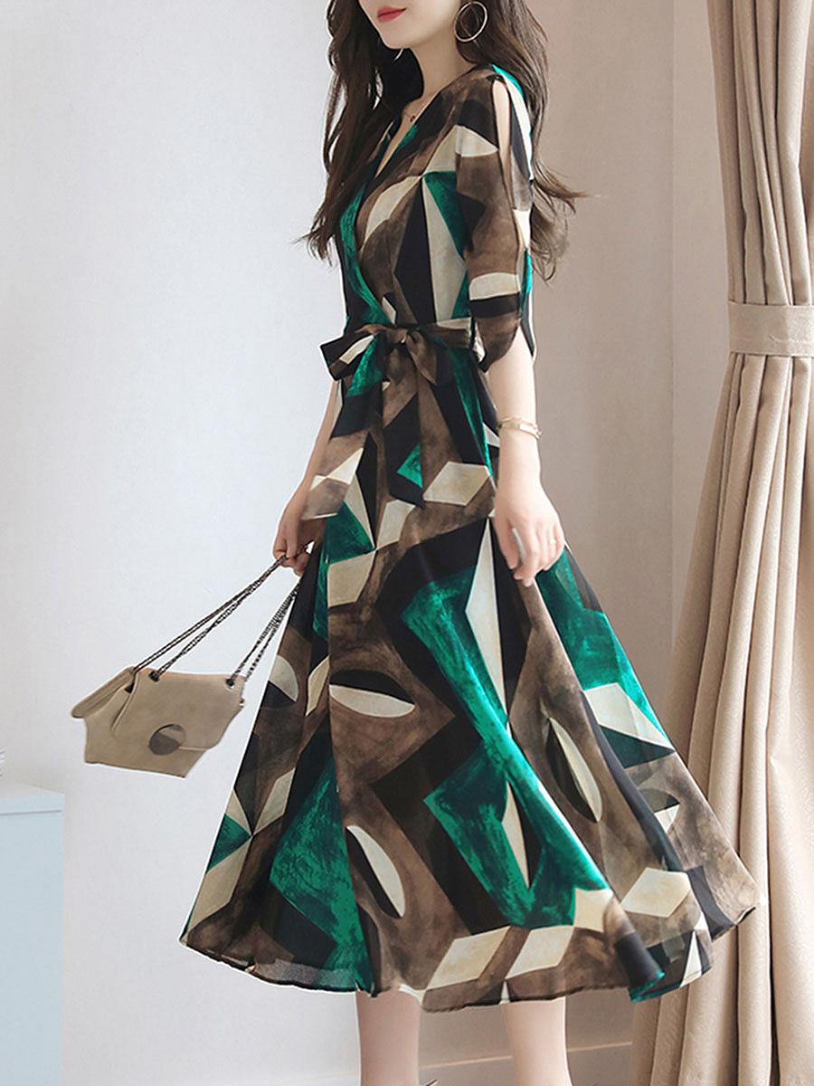 V-Neck Geometric Color Block Belt Maxi Dress